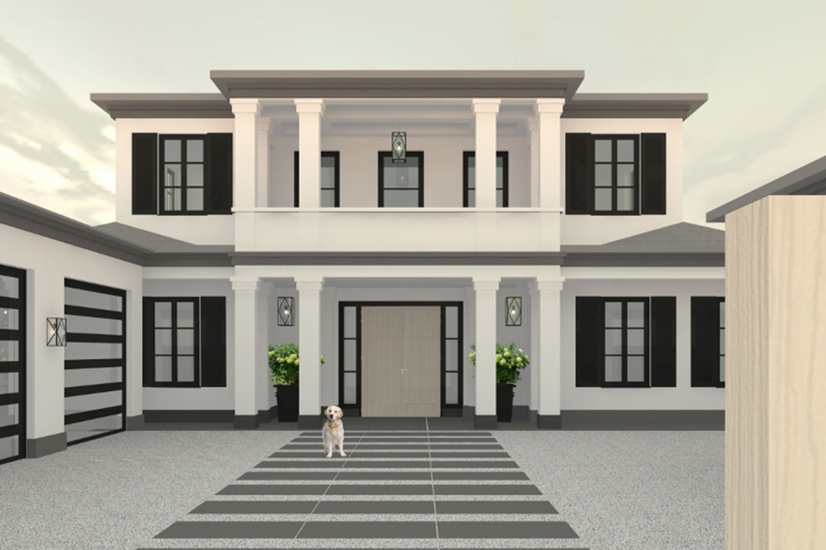 New cad design for villa with large balcony over entrance