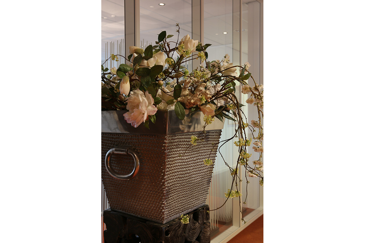basket for flowers in hall for offices