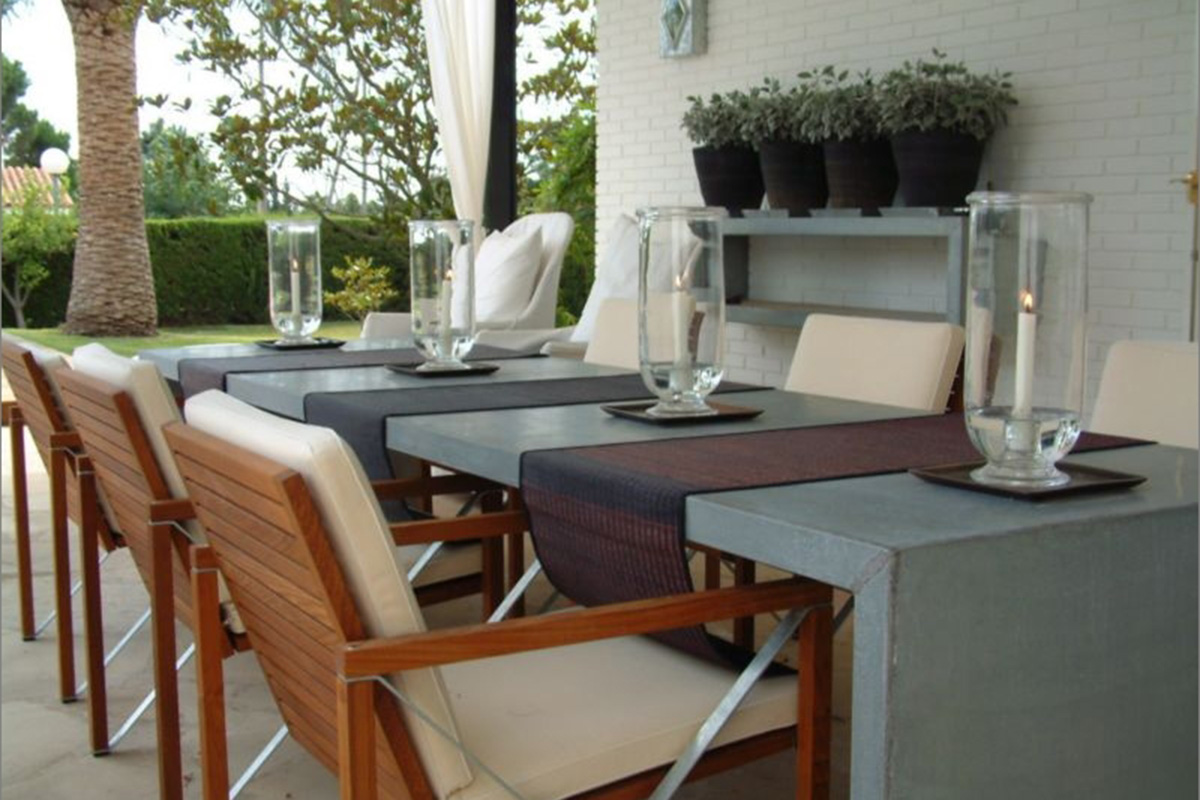outside garden dining design