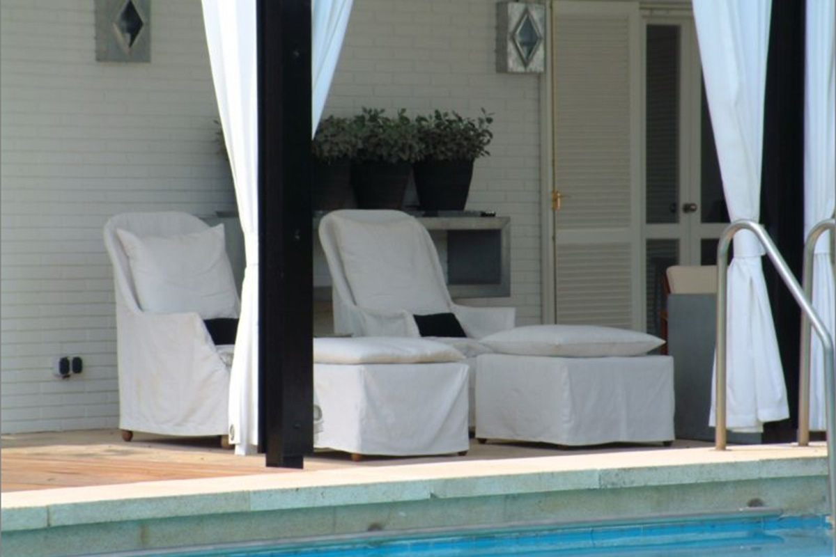 seating next to the pool